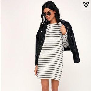 Billabong Simply Put Grey Striped Shirt Dress